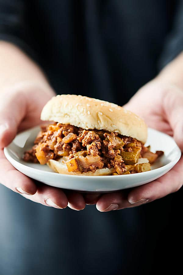 Sloppy joe on a plate held in two hands