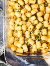Baking dish of tater tot casserole above