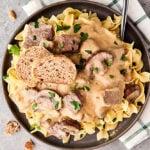 plate of beef stroganoff above