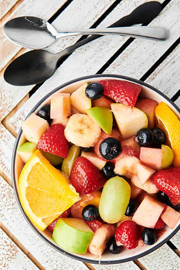 Bowl of fruit salad above