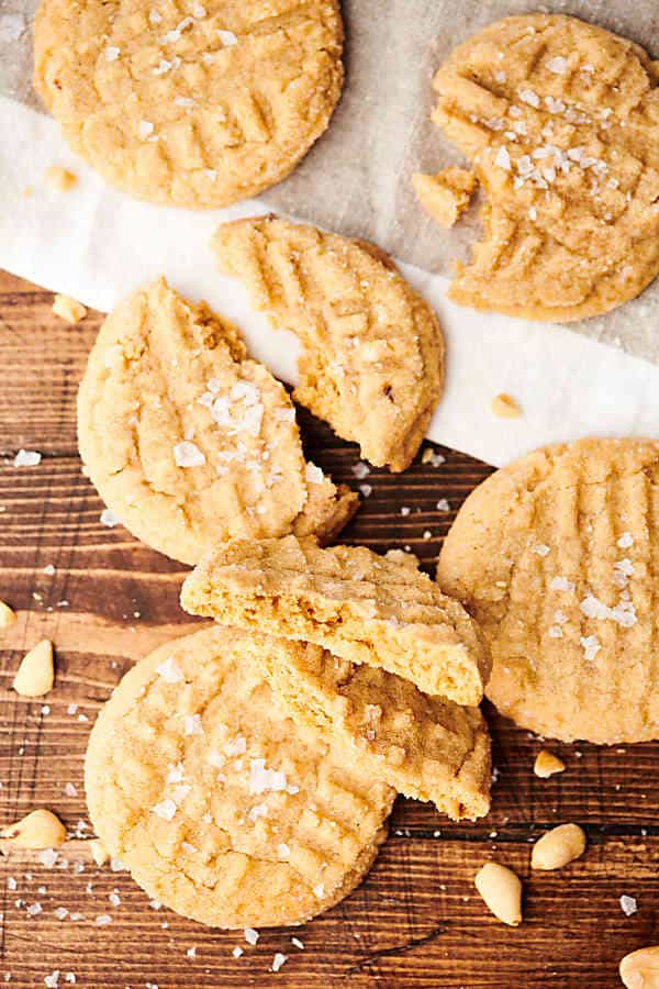 Peanut butter cookies on cutting board above