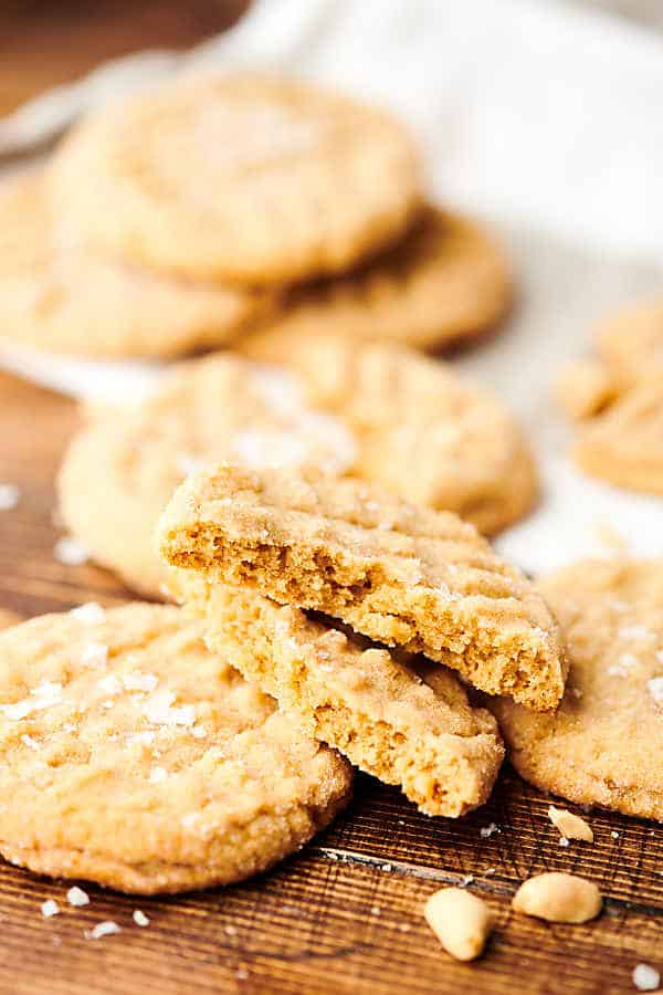 peanut butter cookies on cutting board side view