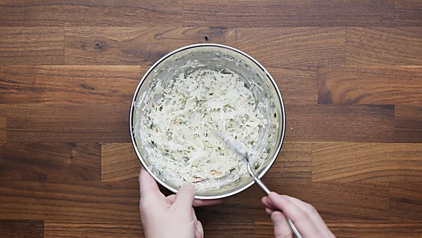slaw in mixing bowl