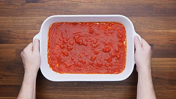 sauce in baking dish