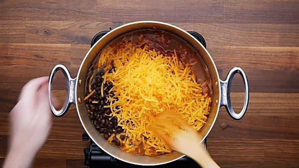 taco soup ingredients unmixed in stockpot