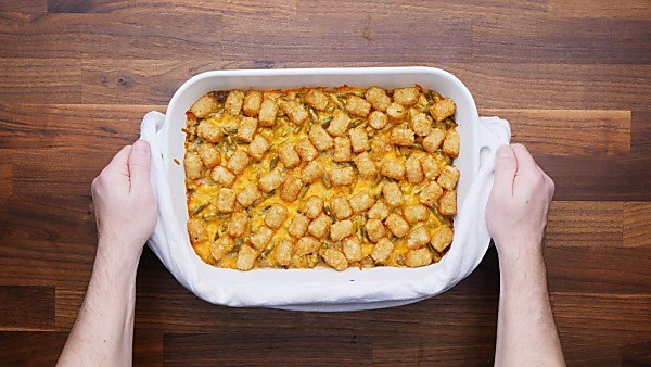 Finished tater tot casserole in baking dish