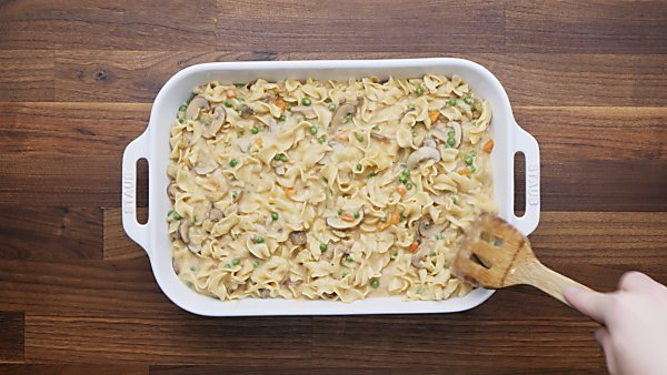tuna casserole mixture poured into baking dish
