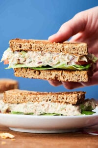 Tuna salad sandwich one half held, other on plate