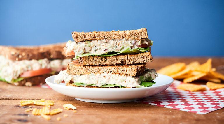 Tuna salad sandwich halves stacked