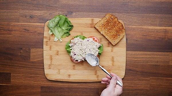 tuna salad served on sandwich