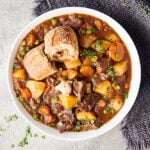 bowl of beef stew above