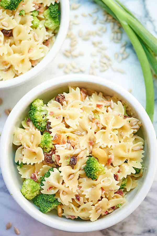 bowl of broccoli pasta salad above