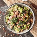 broccoli salad in bowl above