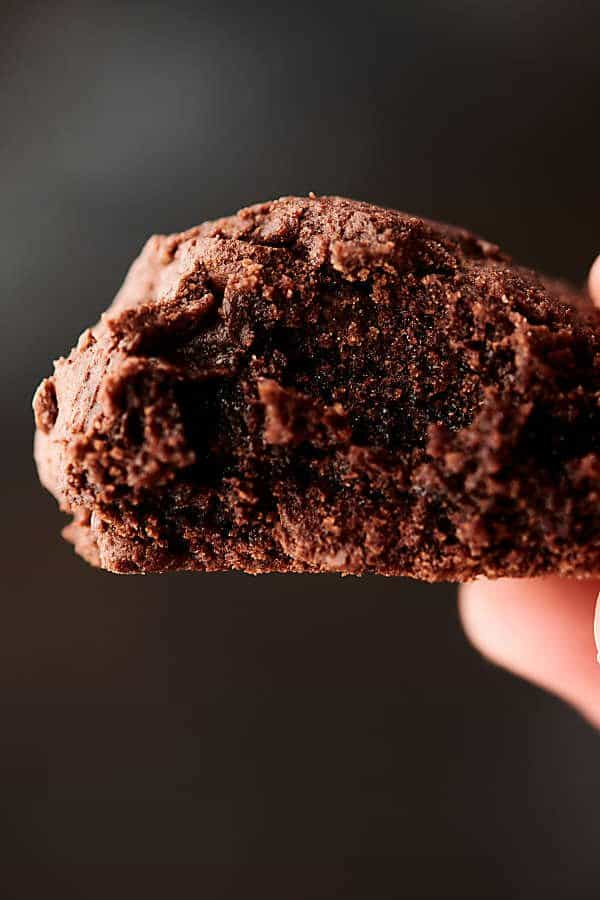 chocolate cake mix cookie held