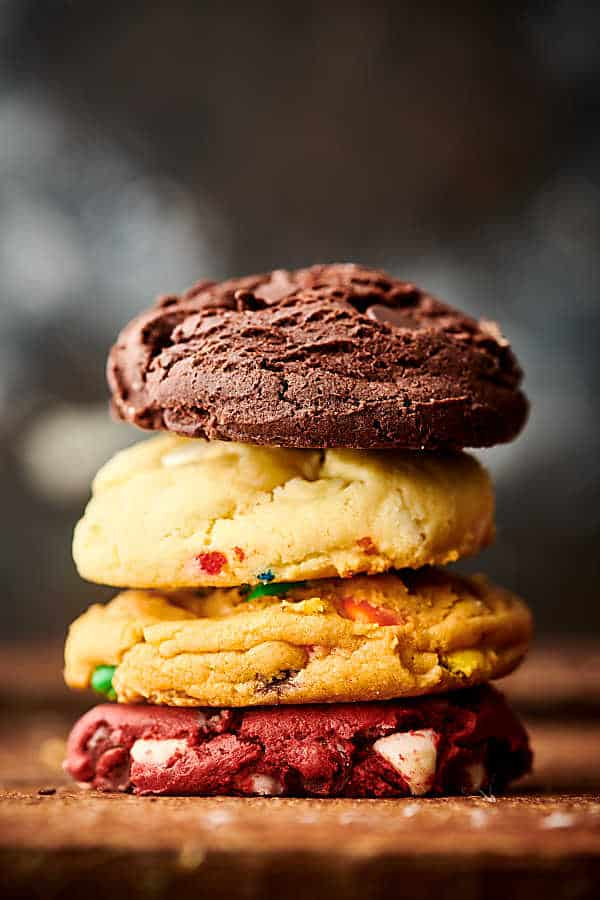 four cake mix cookies stacked