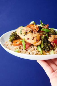 plate of chicken stir fry held blue background