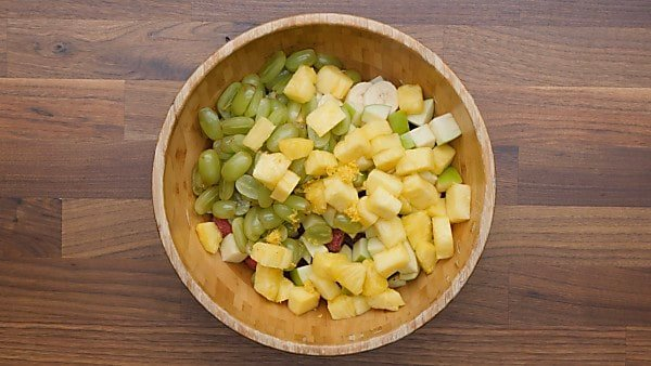 fruit salad ingredients in bowl