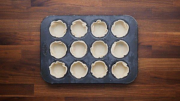 pie crust put in muffin tin