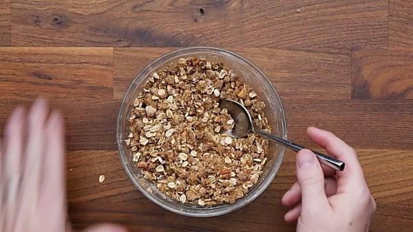 topping ingredients in mixing bowl
