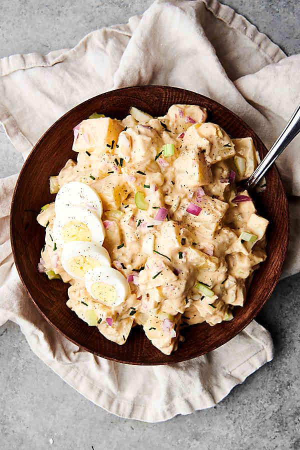 bowl of potato salad above