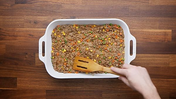 meat/veggies in baking dish