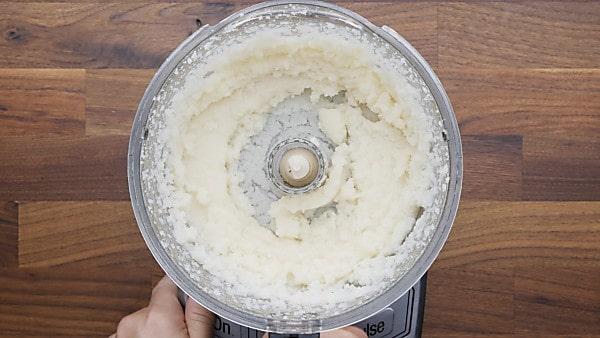 pureed cauliflower in food processor