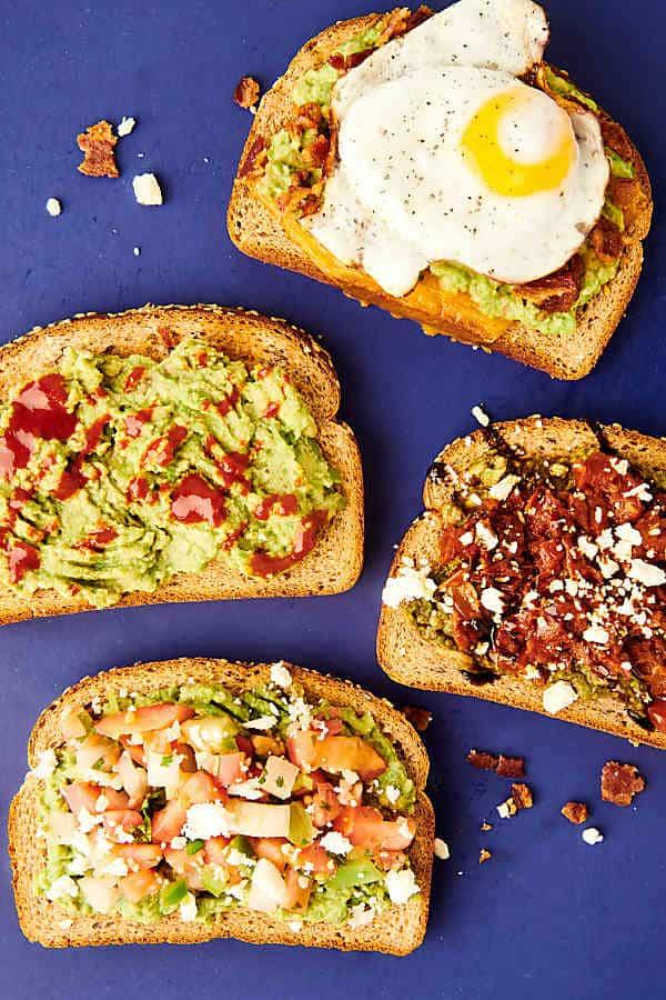 four pieces of avocado toast above