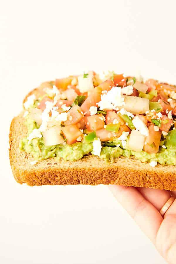 pico de gallo avocado toast held