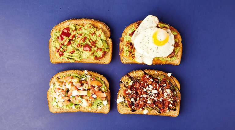 four slices of avocado toast above
