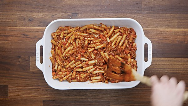 pasta/bolognese mixture in baking dish