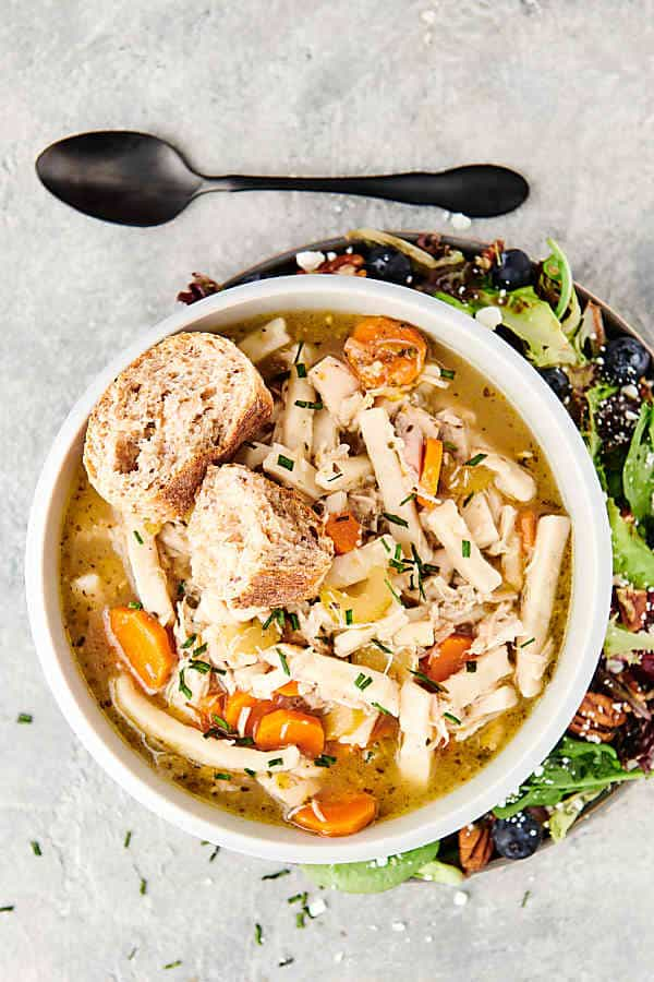 bowl of chicken noodle soup above