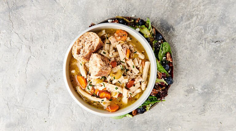 chicken noodle soup in bowl above