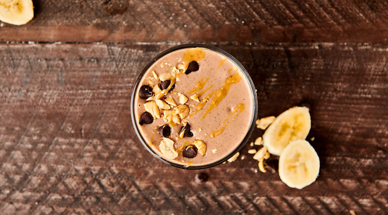 peanut butter banana smoothie above