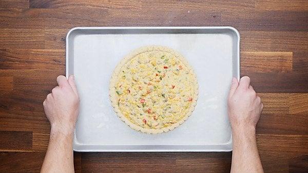 egg mixture in frozen pie crust