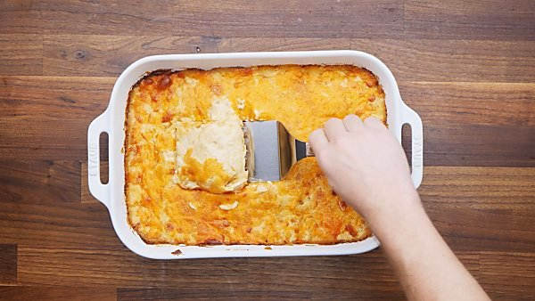 finished scalloped potatoes in baking dish