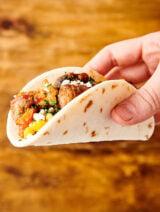 breakfast taco held