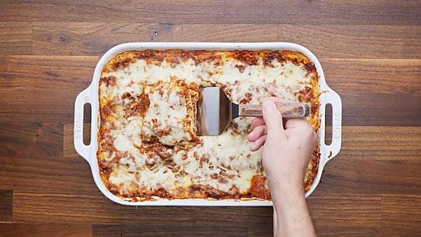 finished lasagna in baking dish