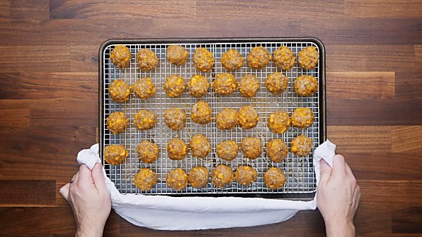baked sausage balls on baking sheet