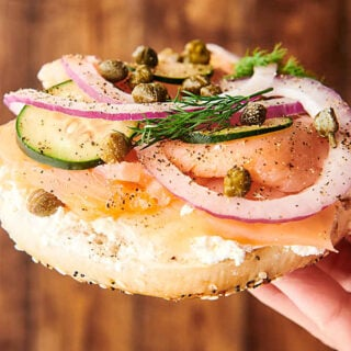 lox bagel held