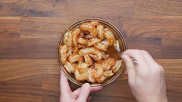 shrimp with marinade in bowl