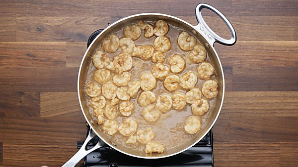 cooked shrimp in saute pan