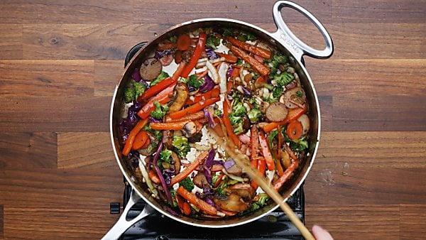 veggies cooked in saute pan