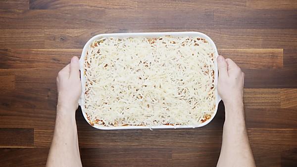vegetarian lasagna topped with mozzarella