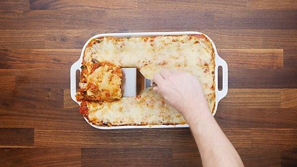 finished vegetarian lasagna being served