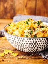 bowl of broccoli cheese casserole