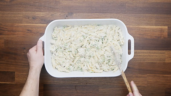 pasta mixture in baking dish