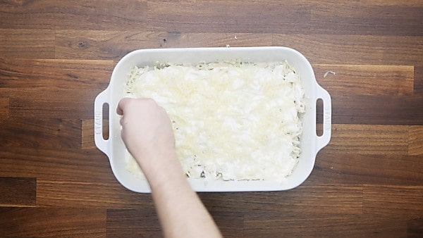 mozzarella cheese being layered on pasta