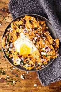 plate of chilaquiles above