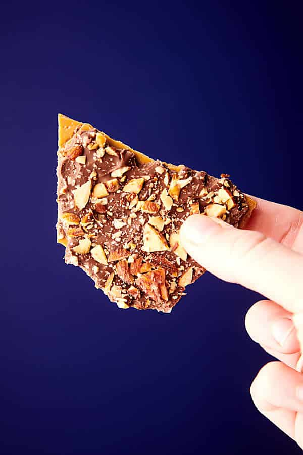 heath bar held blue background