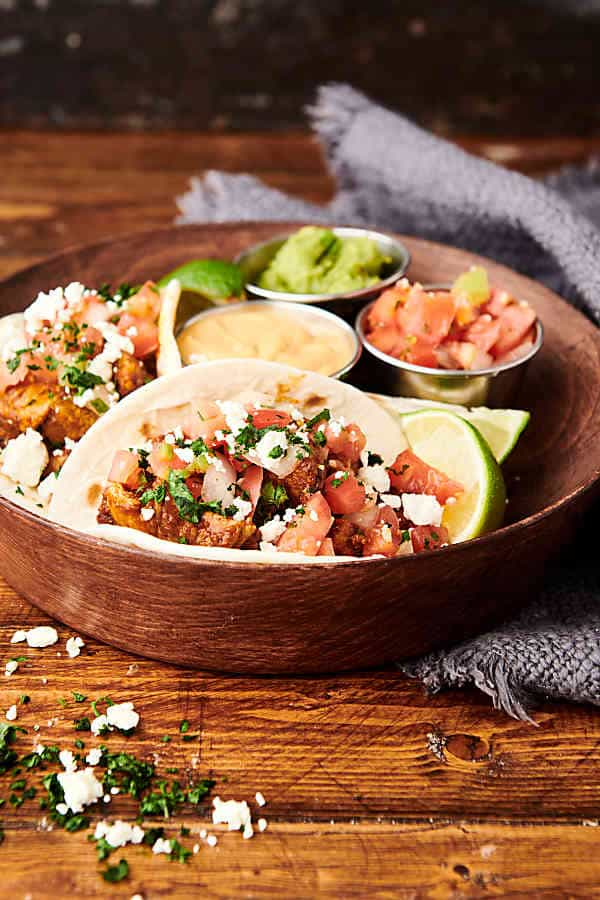 pork tacos on plate